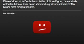 GEMA-Sperrtafel; Rechte: YouTube