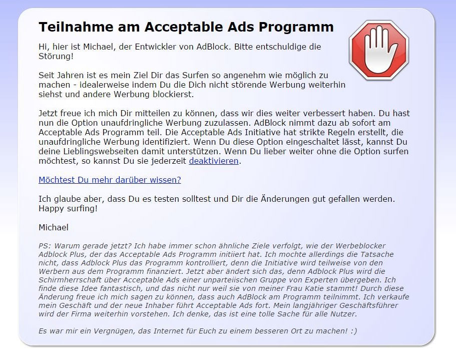 AcceptableAds; Rechte: WDR