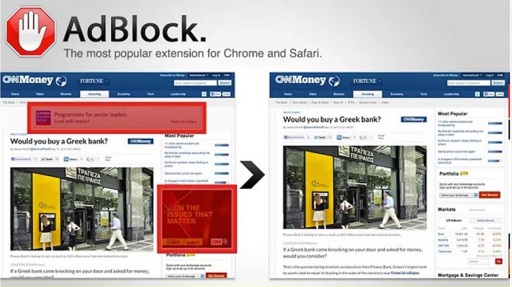 Adblock Extension; Rechte: AdBlock