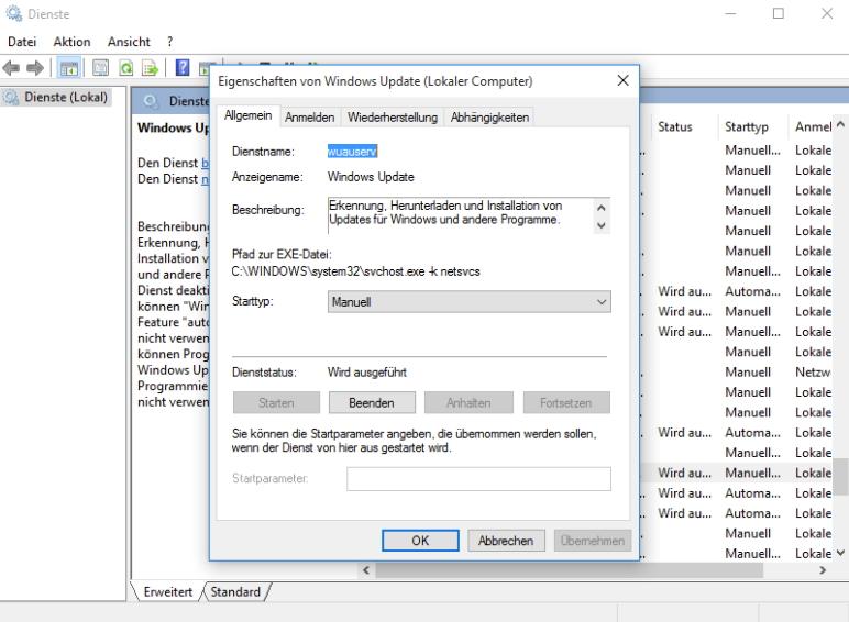 """Fenster zum Einstellen von """"Windows-Diensten""""."""