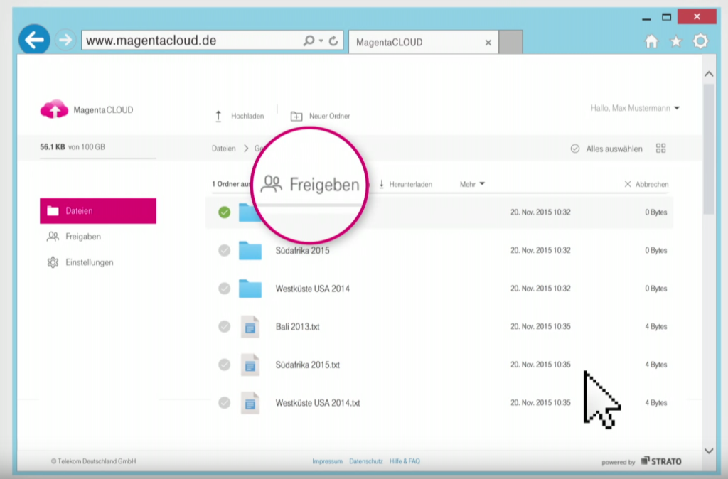 MagentaCloud Upload; Rechte: Telekom