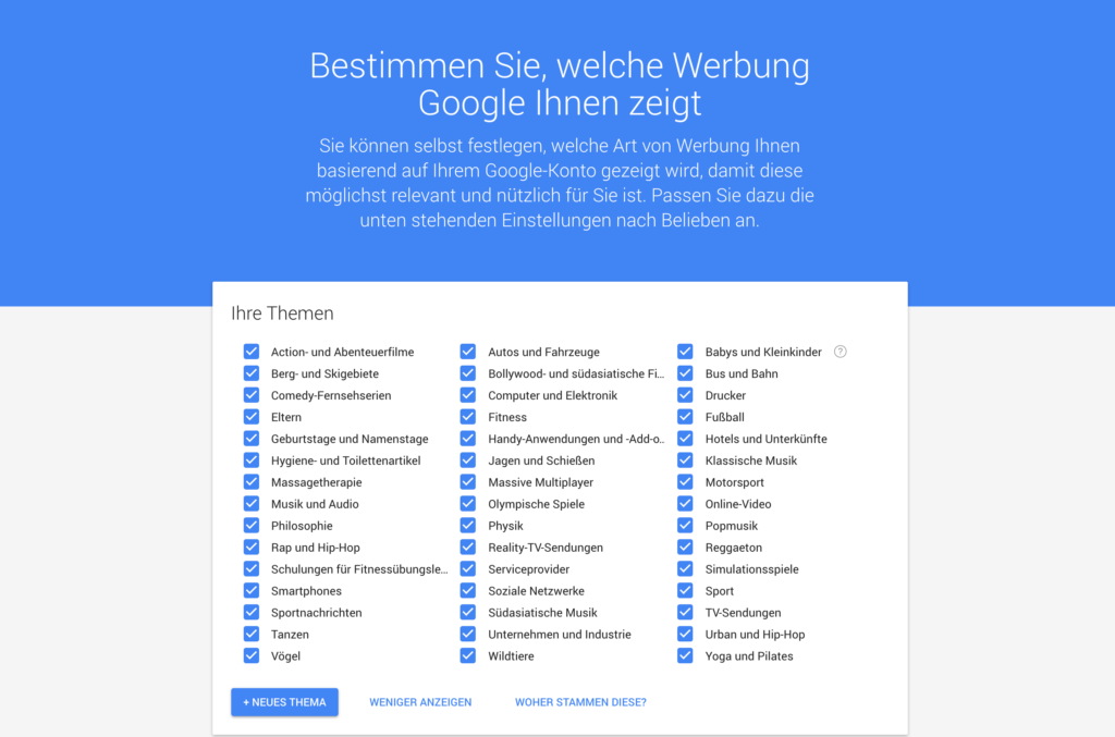Anzeigen Kategorien; Rechte: Google/WDR
