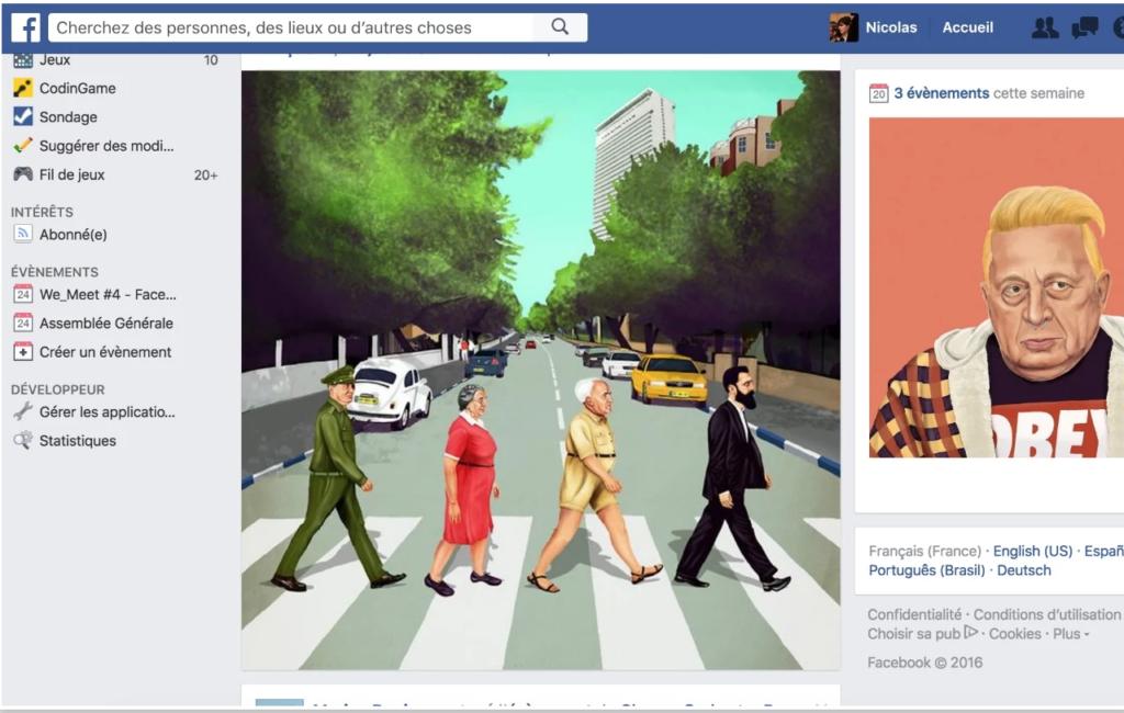 Kunstwerke in Facebook-Timeline und rechts daneben