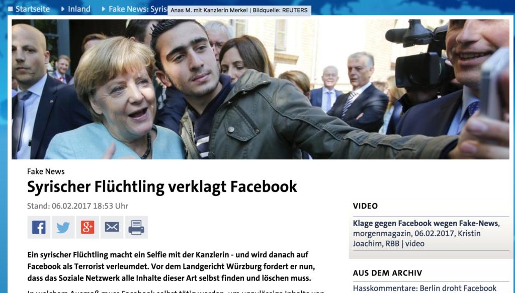 Am Anfang war das Selfie mit Kanzlerin Merkel; Rechte: tagesschau.de