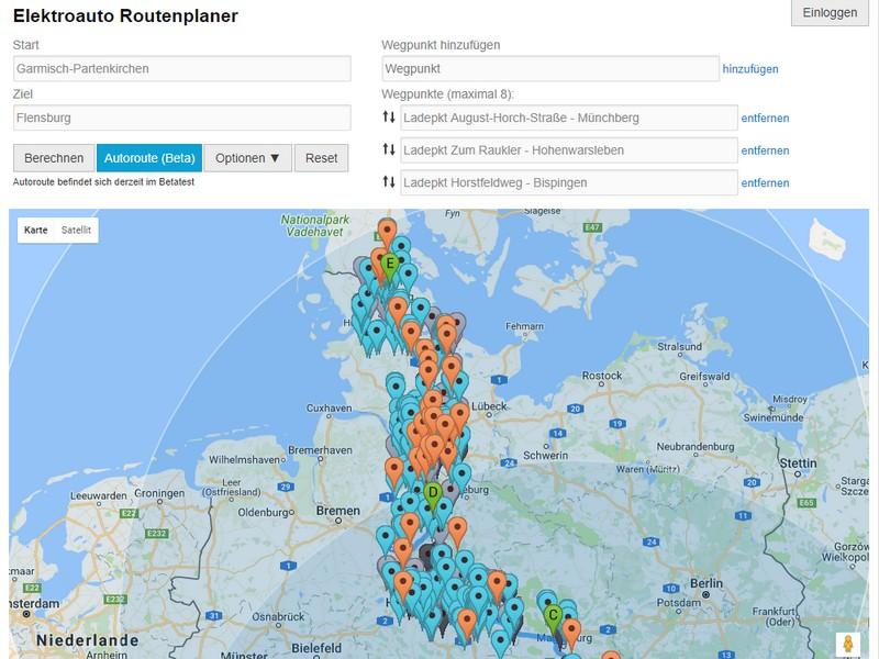Routenplaner für Elektroautos; Rechte: GoingElectric