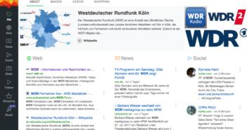 """Suche nach """"WDR"""" in Suchmaschine Qwant; Rechte: Qwant/WDR"""