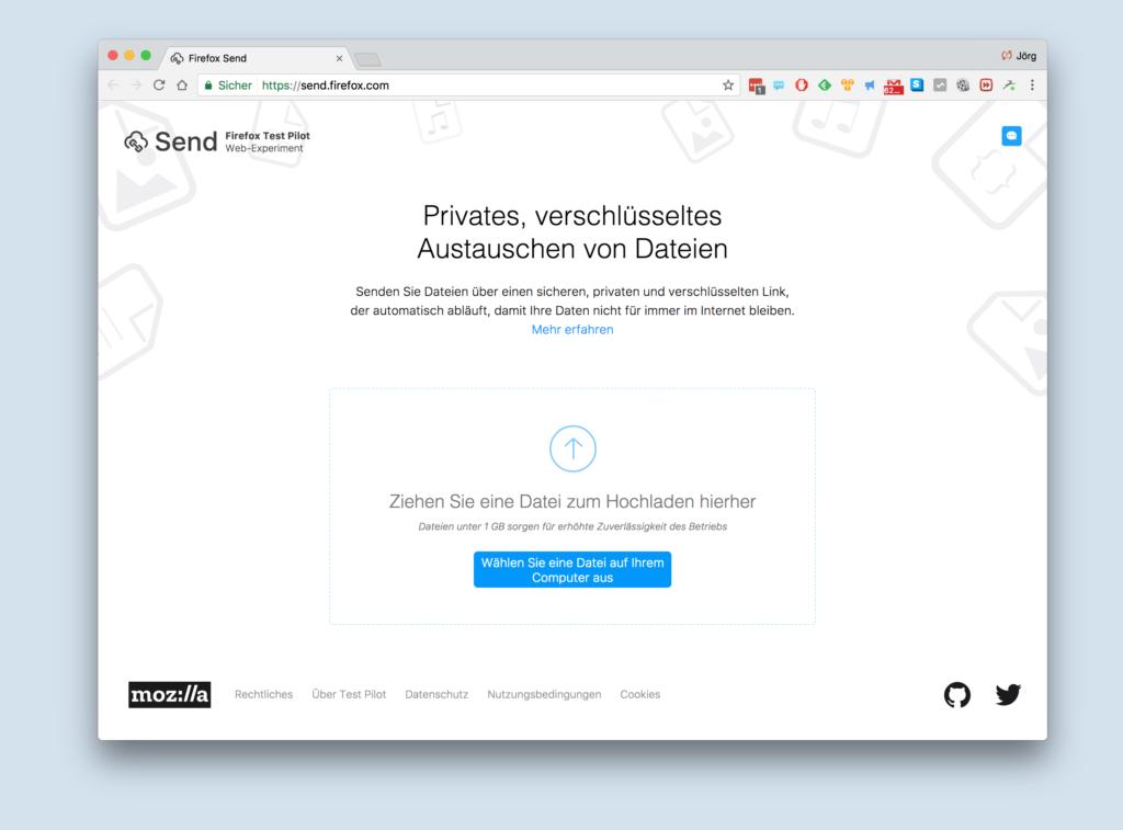 Mit der neuen Send-Funktion von Firefox lassen sich große Dateien austauschen; Rechte: WDR