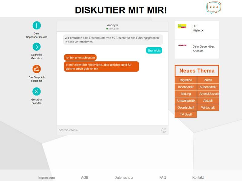 Diskutieren über die Bundestagswahl; Rechte: WDR/diskutiermitmir.de
