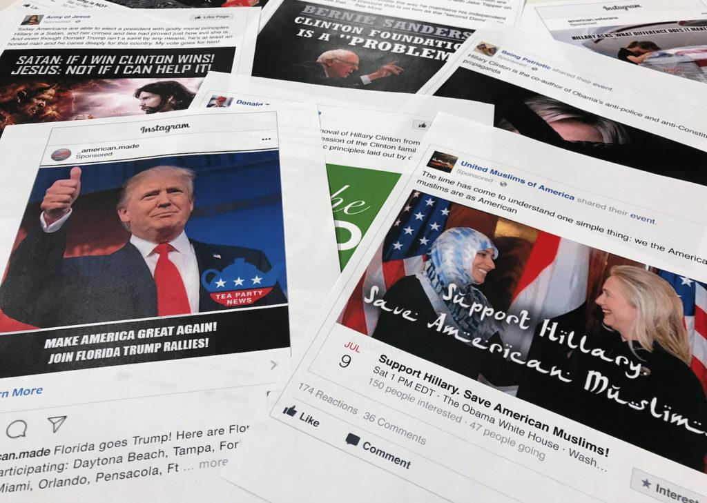Einige der Anzeigen, die bei Facebook und Co. geschaltet wurden; Rechte: dpa/Picture Alliance