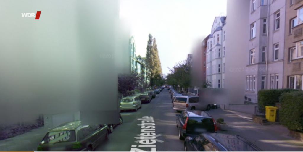 Verpixelte Häuseransicht in Streetview; Rechte: WDR/Schieb
