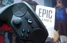 Ein Steam-Controller liegt auf der Oberfläche des Konkurrenten Epic Game Stores.