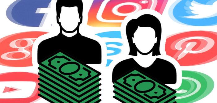 Piktogramme Mann und Frau, Stapel mit Geldscheinen, Social Media Logos