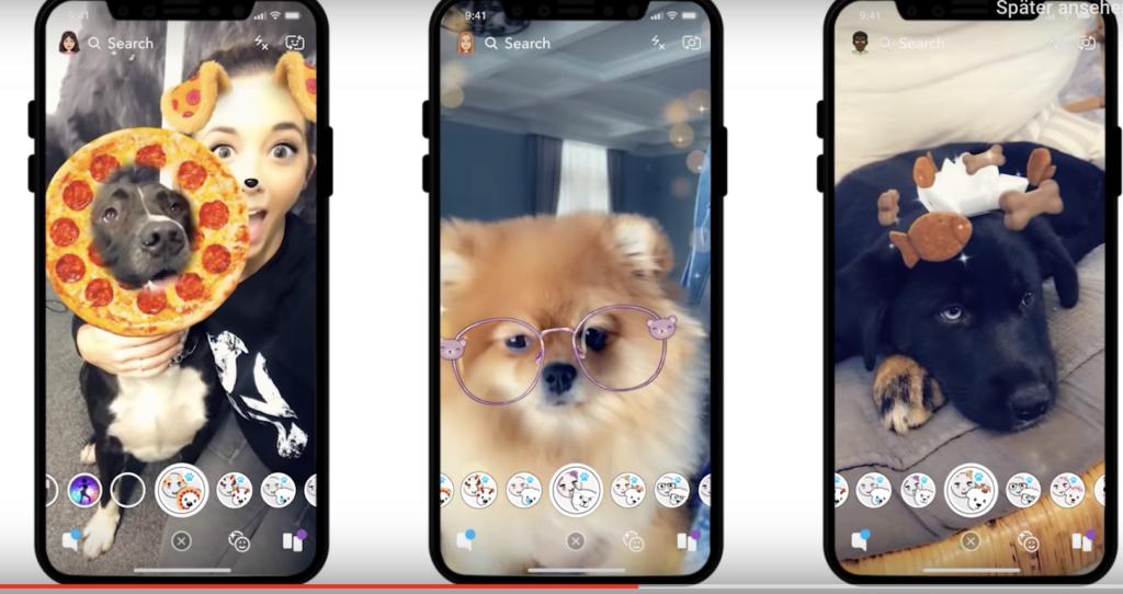 Spezielle Filter für Hunde in Snapchat; Rechte: Snapchat
