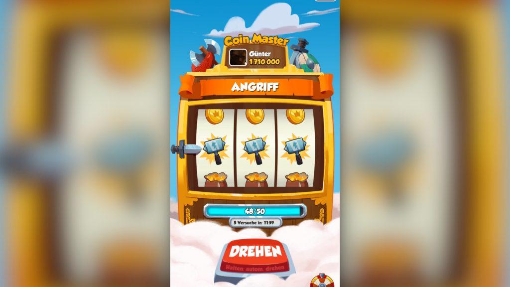 Coin Master: Ständig sollen die Spieler die Slot-Machine bedienen; Rechte: WDR/Schieb