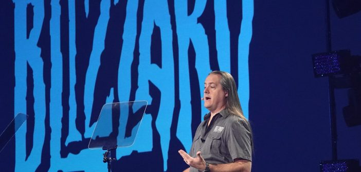 J. Allen Brack, Präsident von Blizzard Entertainment, spricht bei der BlizzCon im Anaheim Convention Center. Foto: Benedikt Wenck/dpa
