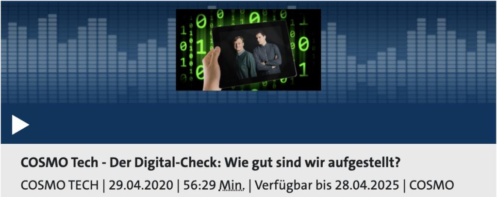 Cosmotech 26: Wie digital sind wir eigentlich?; Recht: WDR/Schieb