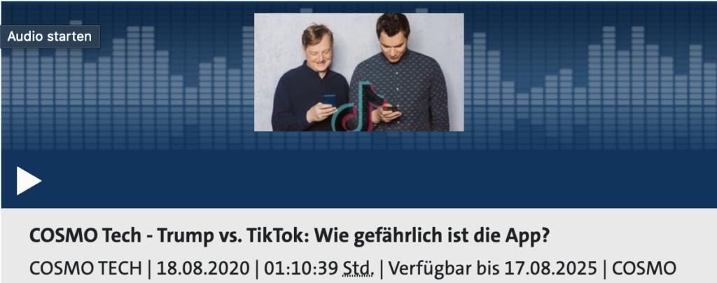 Cosmo Tech Podcast: Wie gefährlich ist TikTok wirklich?; Rechte: WDR/Schieb