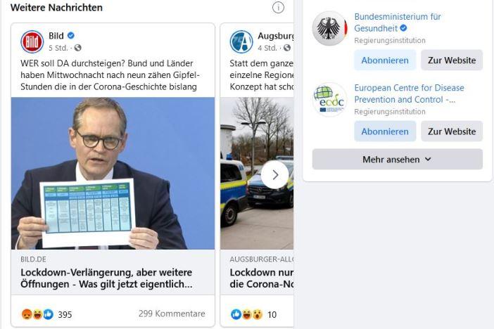 Im Covid-19 Informationszentrum von Facebook erfolgt eine Nachrichtenauswahl von Menschen