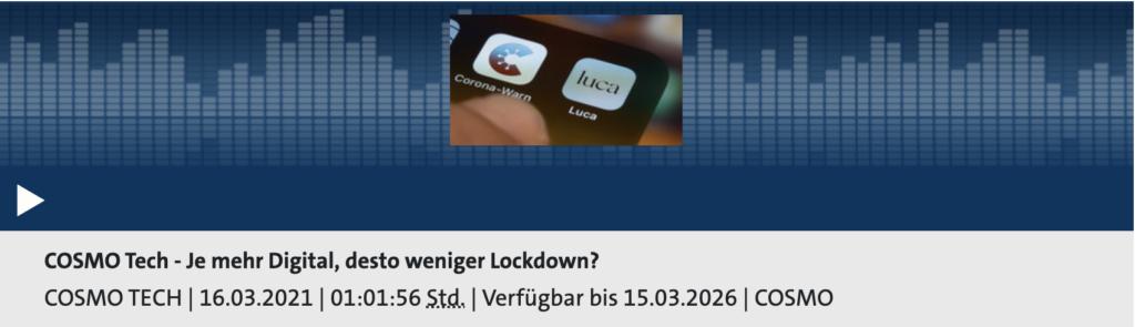 Cosmo Tech: Je mehr Digital, desto weniger Lockdown?; Rechte: WDR