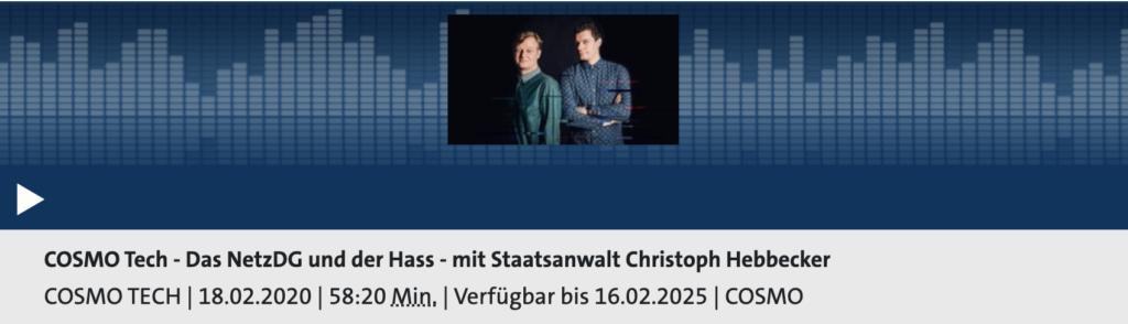 Cosmotech: Das Netzwerk und der Hass; Rechte: WDR