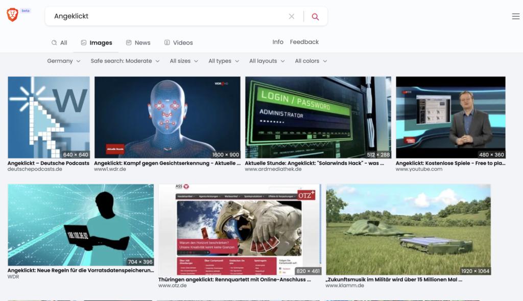 Übersichtlich präsentierte Suchergebnisse bei Brave; Rechte: WDR/Schieb