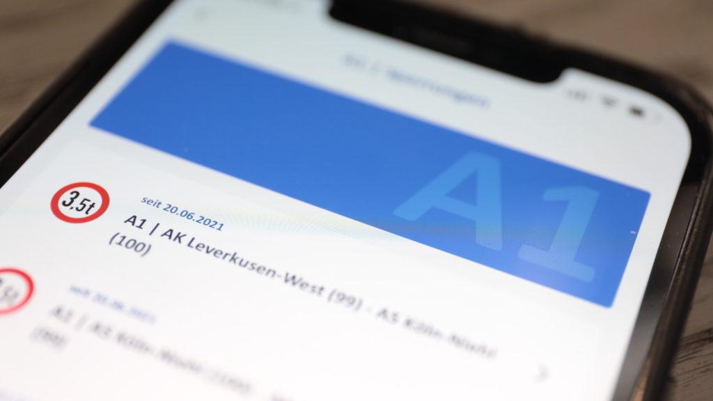 Staus und Warnmeldungen in der Autobahn-App; Rechte: WDR/Schieb
