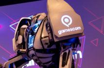 Ein riesiger Roboter mit dem Logo der Gamescom. Bild: picture alliance/dpa | Marius Becker
