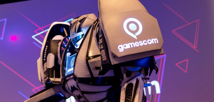 Ein riesiger Roboter mit dem Logo der Gamescom. Bild: picture alliance/dpa   Marius Becker