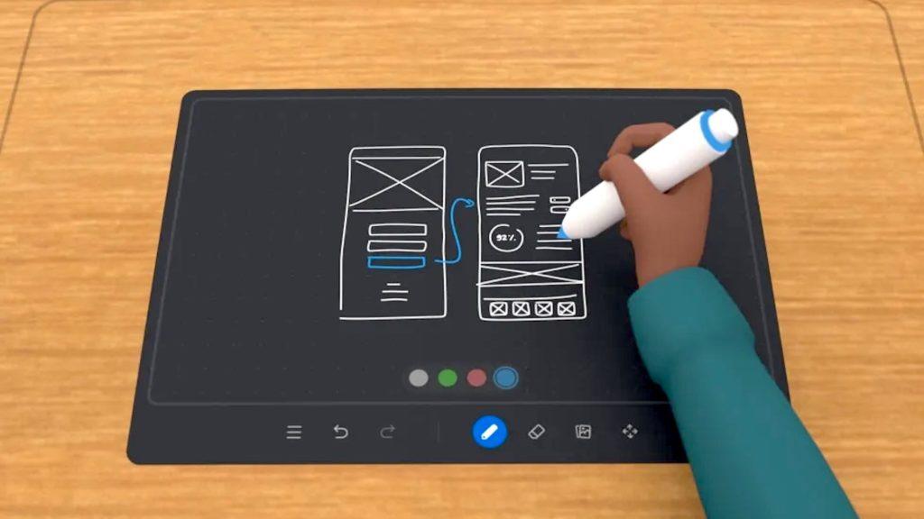 Auch im virtuellen Meeting-Room gib'ts ein Whiteboard; Rechte: WDR/Schieb