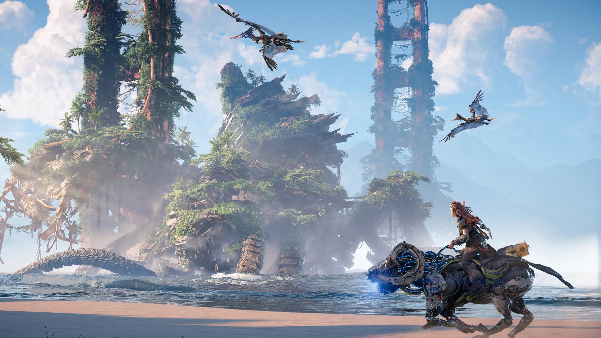 """Eine Szene aus """"Horizon: Forbidden West"""". Bild: Guerrilla Games/ Sony"""