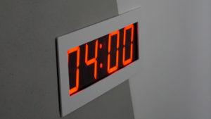 Detailaufnahme von einer digitalen Uhr