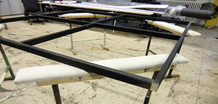 Der Rahmen des Stellwand-Hintersetzers wird gebaut