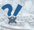 Grafik: Fragezeichen und Ausrufezeichen im Vordergrund - Plenarsaal im Hintergrund