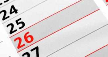 Detailaufnahme von einem Kalender