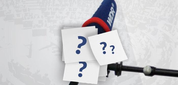 Rechte: WDR M]: Mikrofon mit WDR/Logo, Fragezeichen
