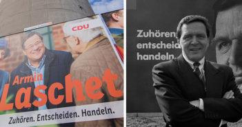 Wahlplakat von Armin Laschet (l.) und Gerhard Schröder. Rechte: WDR/dpa/Vennenbernd/ imago stock&people[M]