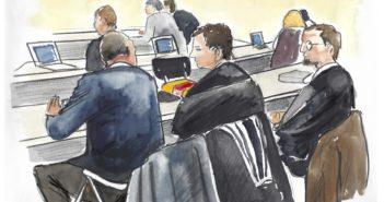 Verteidiger der Angeklagten von hinten (Zeichnung)