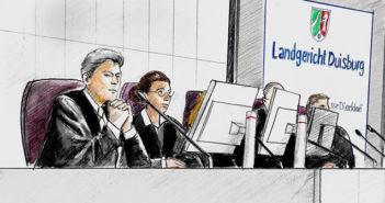 Strafkammer des Loveparade-Prozesses (Zeichnung), Rechte: WDR/ Andrea Naumann